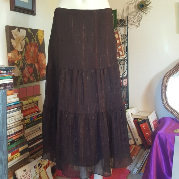 4/$25 Brown Tulle Shimmer Peasant Maxi Skirt